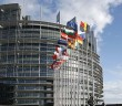 Flags outside the European Parliament building Louise Weiss in Strasbourg