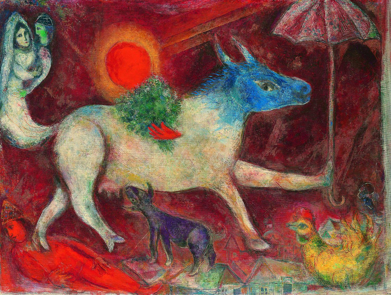 """Marc Chagall """"La mucca con l'ombrello"""" 1946, olio su tela New York, The Metropolitan Museum of Art"""