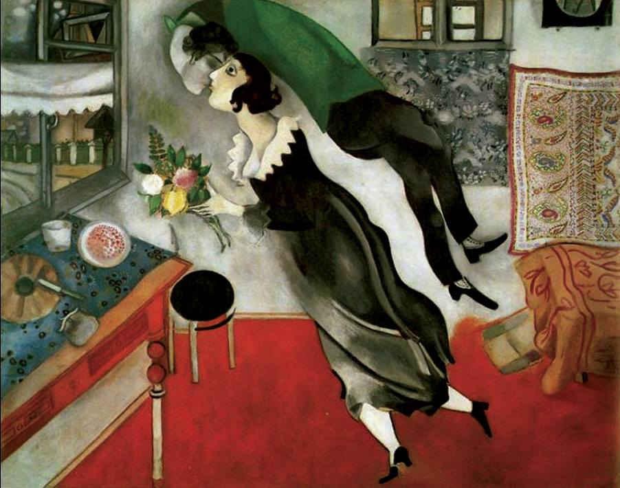 "Marc Chagall ""Il compleanno"" 1915, olio su cartone The Museum of Modern Art, New York"