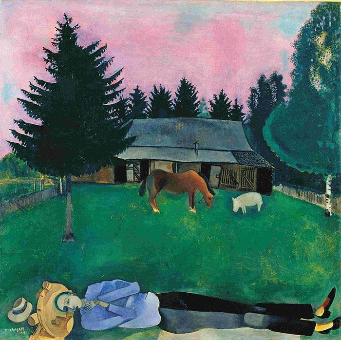 """Marc Chagall """"Il poeta giacente"""" 1915, olio su cartone © Tate, London"""