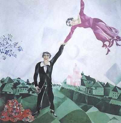 "Marc Chagall ""La passeggiata"" 1917-1918, olio su tela State Russian Museum, San Pietroburgo"