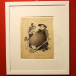 """Ashavérus (Didier Dubucq), Une belle bedaine (Un bel pancione). Disegno originale per """"Les Corbeaux"""". Collezione privata, Parigi"""