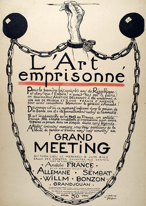 Jules Grandjouan L'Art emprisonné (L'arte imprigionata), 1909. Manifesto per la giornata dedicata al diritto di libera espressione degli artisti. Collezione privata, Parigi