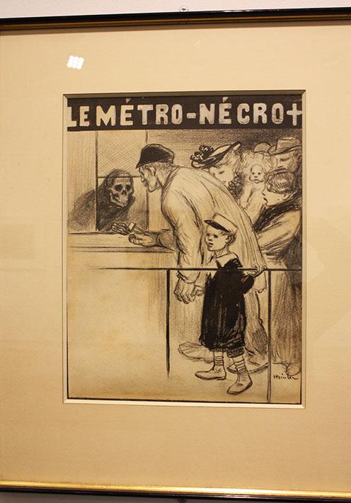 """Théophile Alexandre Steinlen, Le métro nécro (Morte nel metrò), 1903 China su carta, disegno originale per la copertina  de """"L'Assiette au Beurre"""", n. 125, 22 agosto 1903 Collezione privata, Parigi"""