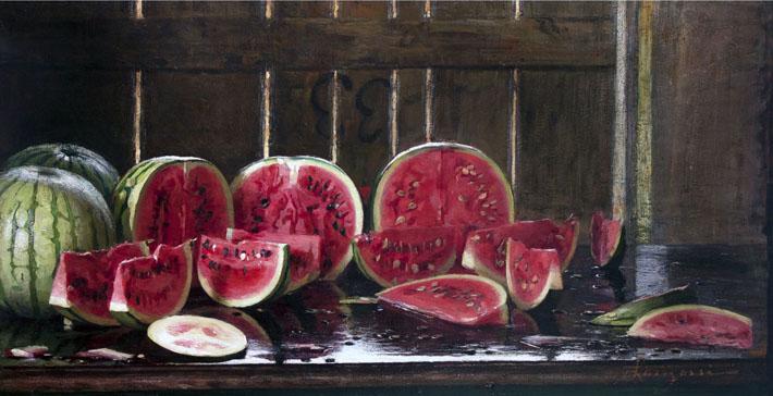 Emilio Longoni, Tavolo con angurie, olio su tela, 62x120 cm