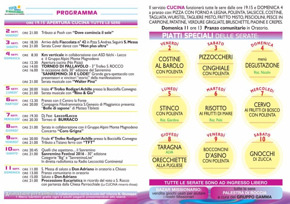 programma maggianico festa